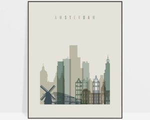 Amsterdam print skyline earth tones 1