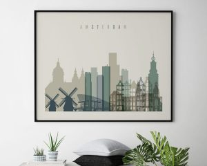 Amsterdam print earth tones 1 landscape second