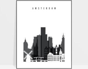 Amsterdam skyline black and white art