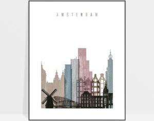 Amsterdam skyline poster distressed 1