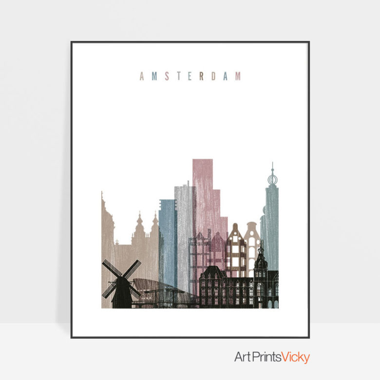 Amsterdam skyline poster distressed 1