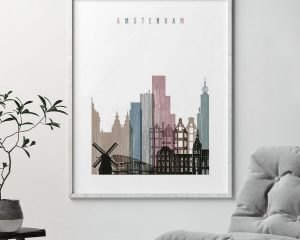 Amsterdam skyline poster distressed 1 second