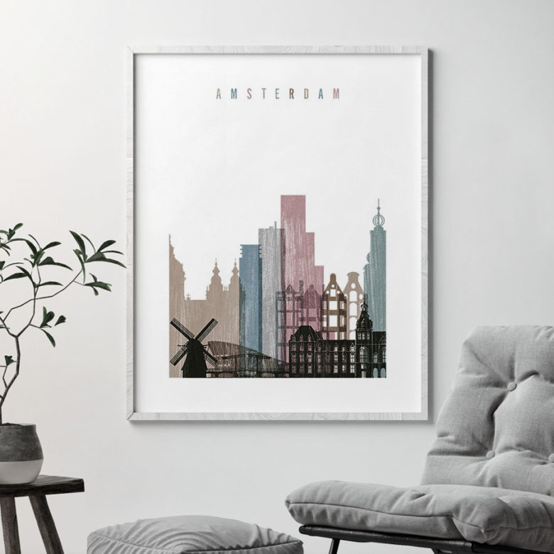 Amsterdam skyline poster distressed 1 second