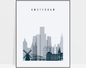 Amsterdam skyline art print grey blue