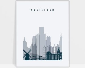 Amsterdam skyline art print grey blue