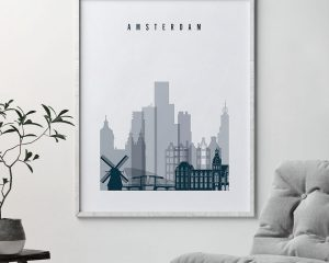 Amsterdam skyline art print grey blue second
