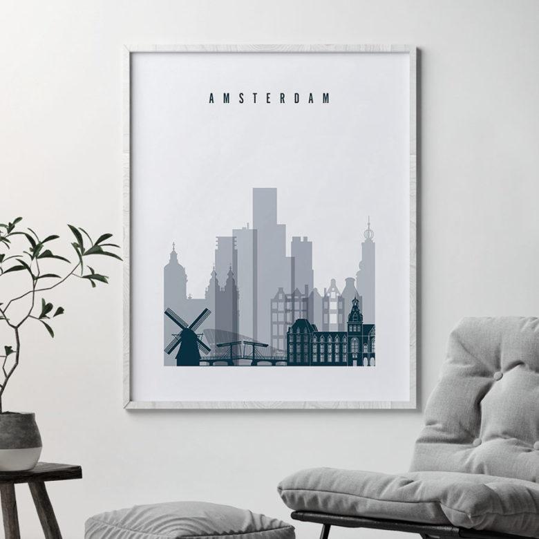 Amsterdam skyline art print grey blue second