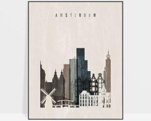 Amsterdam skyline print distressed 2