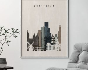 Amsterdam skyline print distressed 2 second