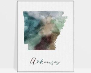 Arkansas State map print