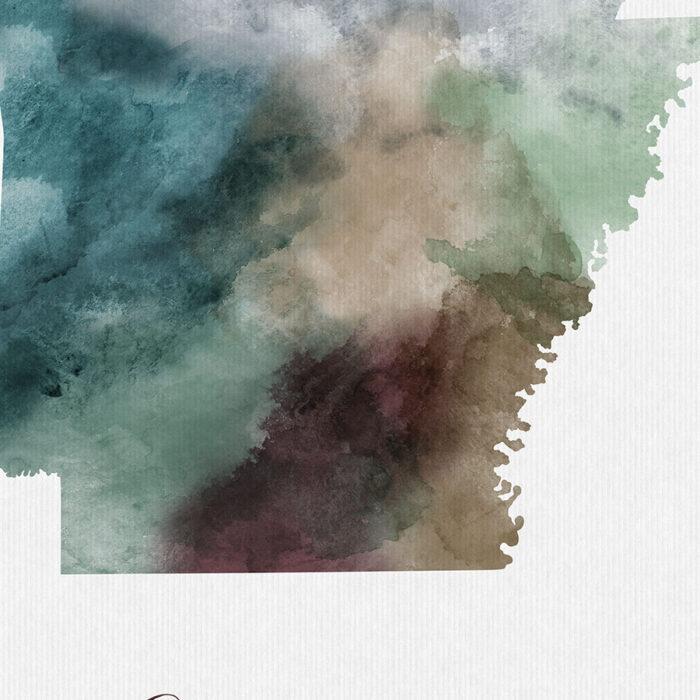 Arkansas State map print detail