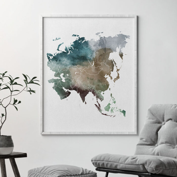 Asia map print second