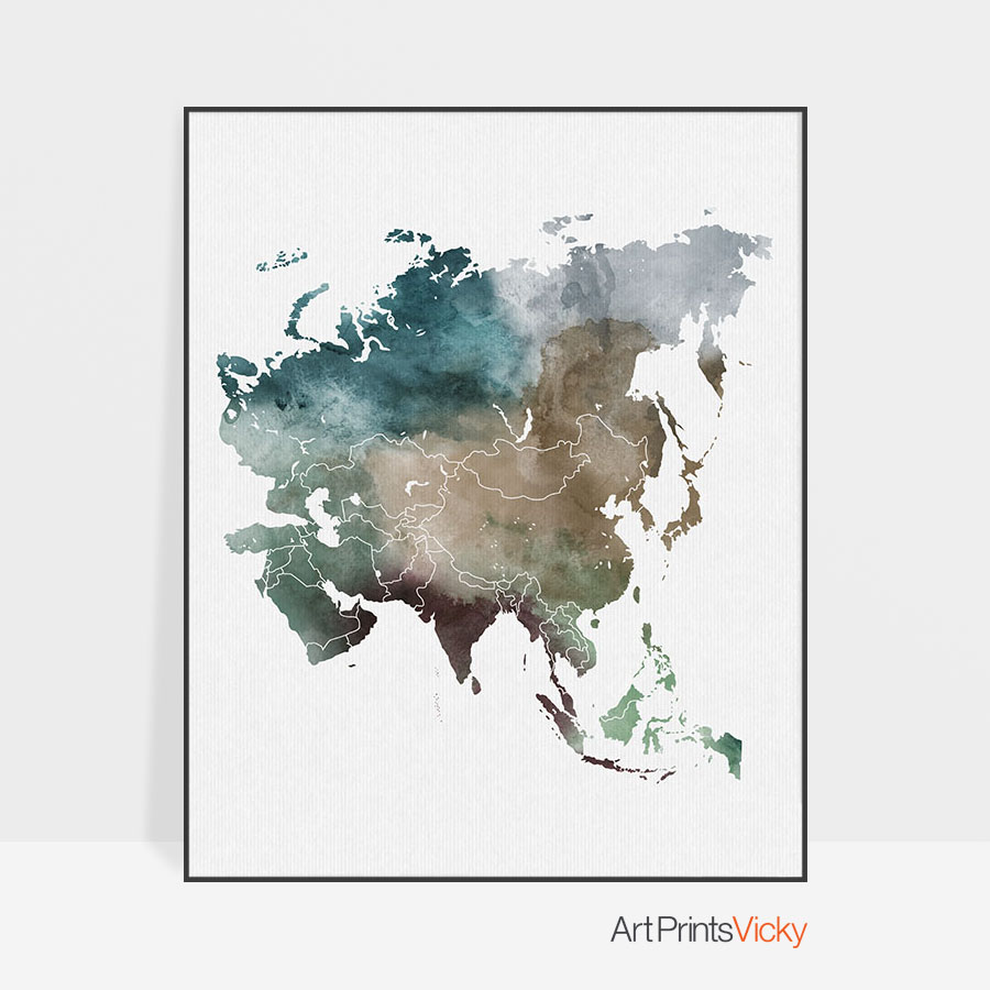 Map Of Asia To Print.Asia Map Print Art Prints Vicky