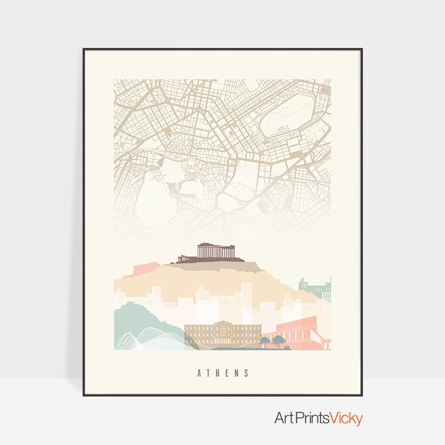 Athens map print poster pastel cream