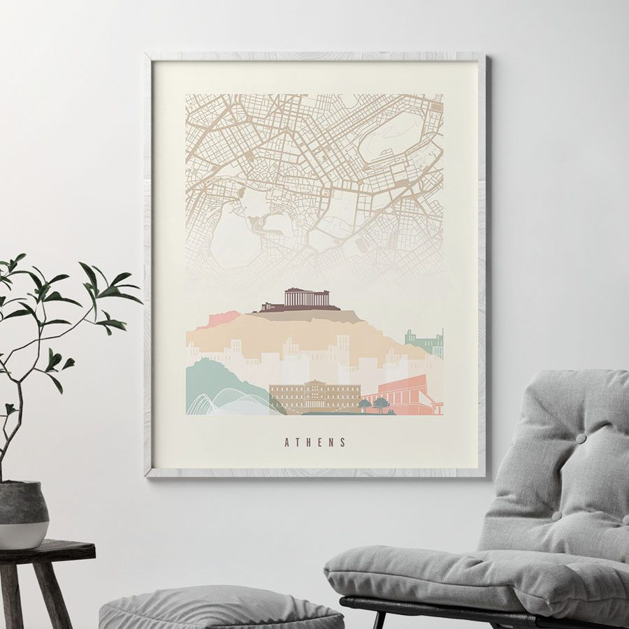 Athens map print poster pastel cream second