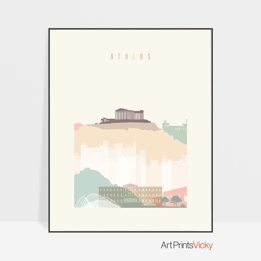 Athens skyline poster pastel cream