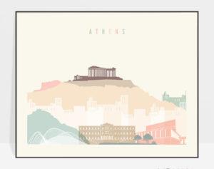 Athens skyline poster pastel cream landscape