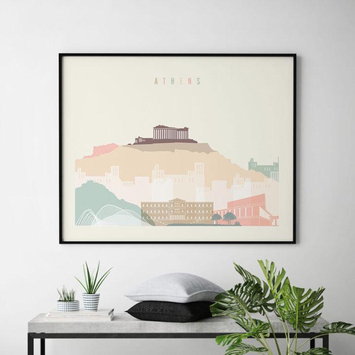 Athens skyline poster pastel cream landscape second
