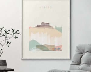 Athens skyline poster pastel cream second