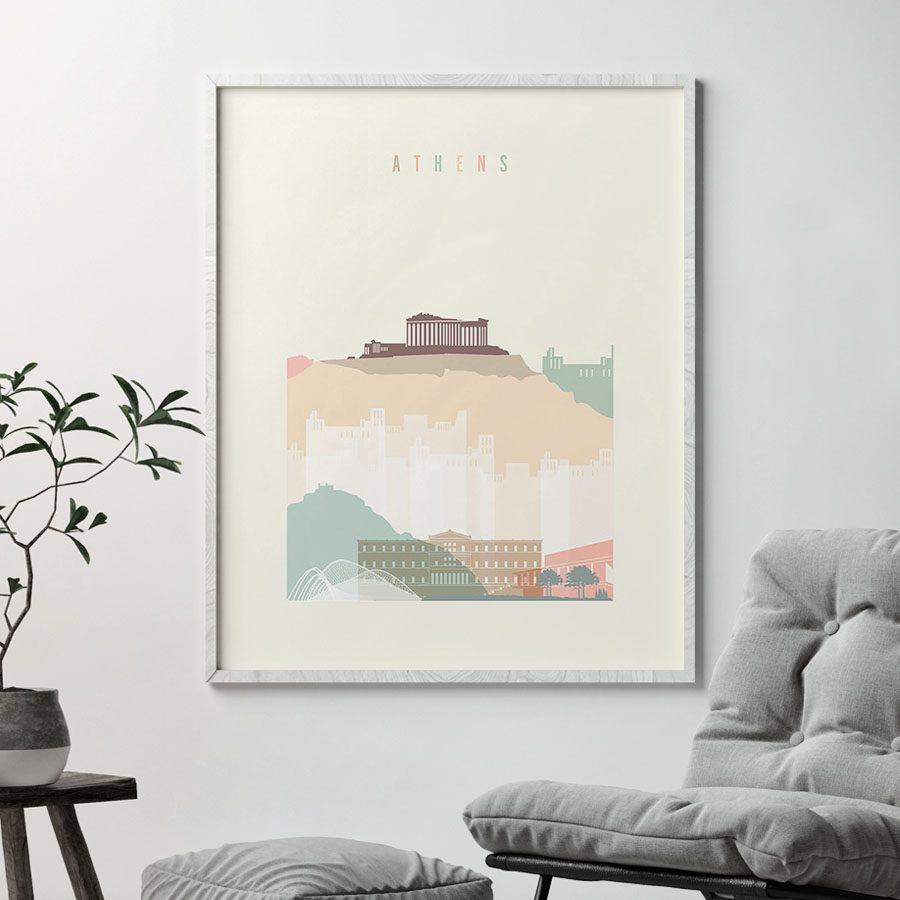 Athens skyline poster pastel cream second