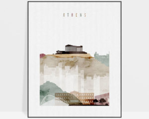 Athens skyline art print watercolor 1