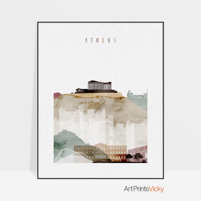 Athens skyline art print watercolor 1