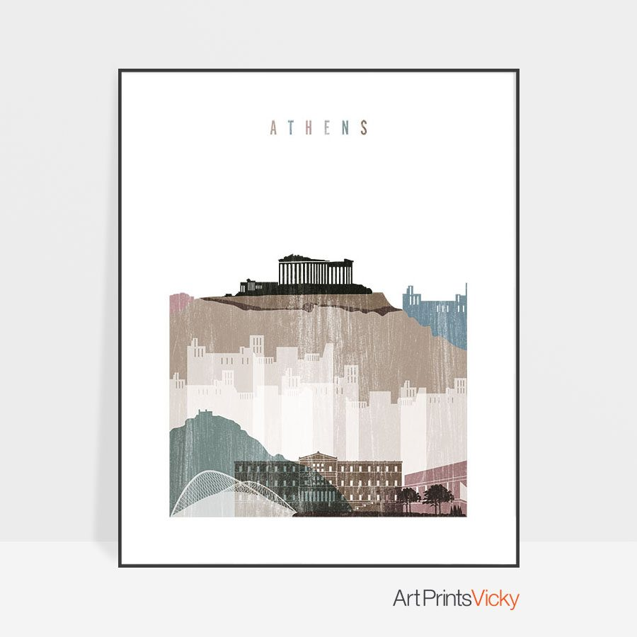 Athens skyline poster distressed 1