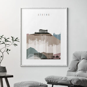 Athens skyline poster distressed 1 second