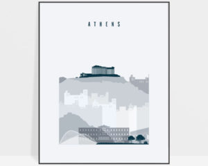 Athens skyline poster grey blue