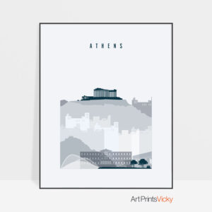 Athens skyline poster grey blue