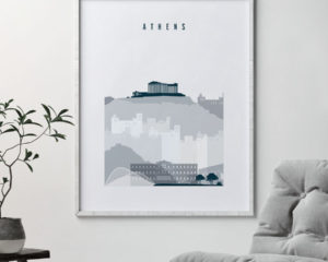 Athens skyline poster grey blue second