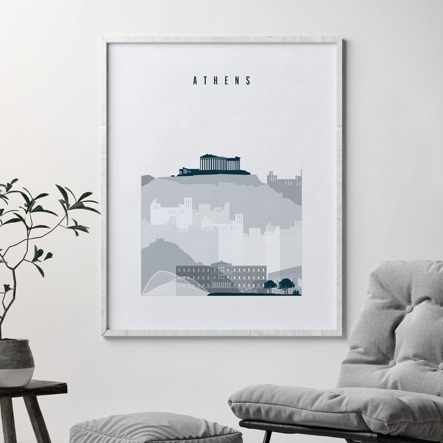 Athens skyline poster grey blue second