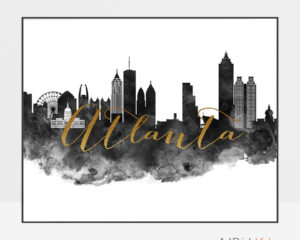 Atlanta cityscape watercolor poster black white gold