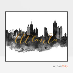 Atlanta Watercolor Black White Gold Poster