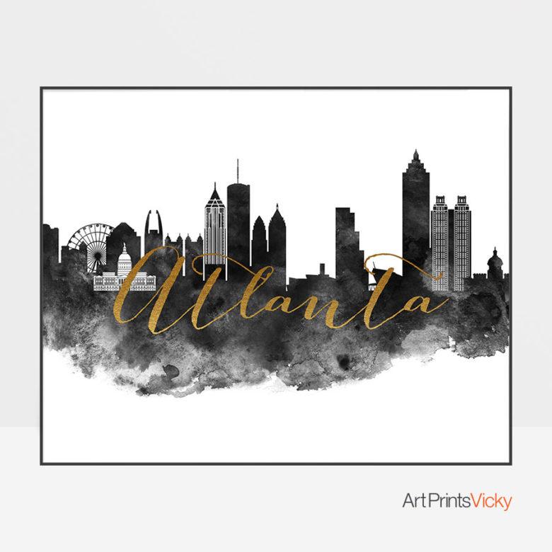 Atlanta cityscape watercolor poster black white gold