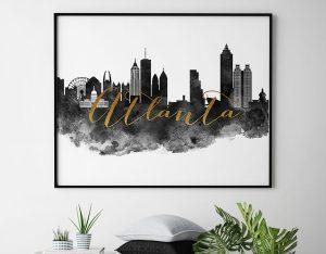 Atlanta cityscape watercolor poster black white gold second