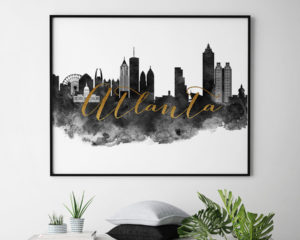 Atlanta cityscape watercolor poster black white gold second