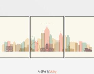 Atlanta cream pastel skyline set of 3 prints