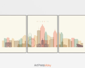 Atlanta cream pastel skyline set of 3 prints
