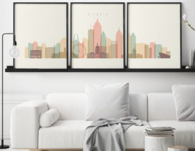 Atlanta cream pastel skyline set of 3 prints second