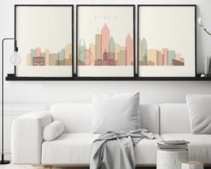 Atlanta cream pastel skyline set of 3 prints second
