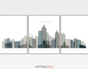 Atlanta earth tones 4 skyline set of 3 prints