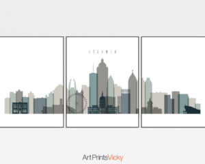 Atlanta earth tones 4 skyline set of 3 prints