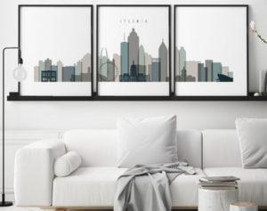 Atlanta earth tones 4 skyline set of 3 prints second