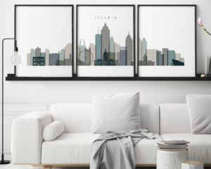 Atlanta earth tones 4 skyline set of 3 prints second