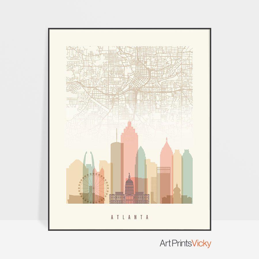 Atlanta map print skyline poster pastel cream