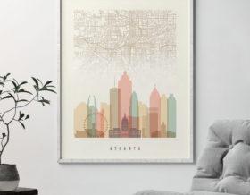 Atlanta map print skyline poster pastel cream second