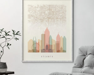Atlanta map print skyline poster pastel cream second