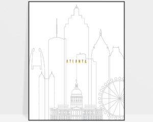 Atlanta art skyline poster grey gold