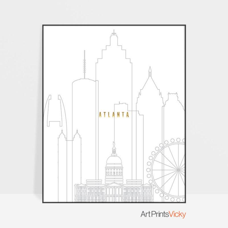 Atlanta art skyline poster grey gold